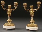 19th C. Pair of French Neo-Classic Bronze Candelabra.