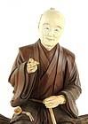 Superb Large Japanese Carved Wood Figure; Wood Gatherer.