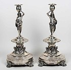 Superb Pair of 19th C. Austrian Silver Figural Candlesticks.
