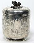 Tiffany Sterling Silver Footed Lidded Jar.