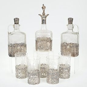 Group of German Style Sterling Silver & Etched Glass Bar-Ware.