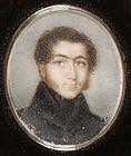 18th C. Fine Miniature Portrait Painting on Ivory.