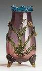 Victorian Art Glass Vase with Applied Flowers.