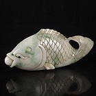 Chinese Natural Jadeite Carving; Fish.