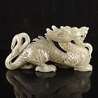 Chinese Natural Hetian Jade Carving, Dragon.