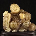 Chinese Natural Shoushan Stone Carvings, Fortune Kid.