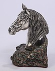 Vintage Naturalistic Silver Bust; Horse.