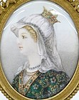 Antique Miniature Painting on Ivory; Queen of Brittany.