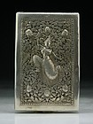 Antique Japanese  Engraved Silver  Cigarette Case.