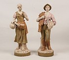 Pair of Royal DUX Porcelain Figures; Peasants.