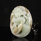 Superb Chinese Natural Hetian Jade Pendant;  Dragon & Sage.