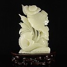 Large Chinese Natural Jade/Hardstone Carving; Fish & Lotus.