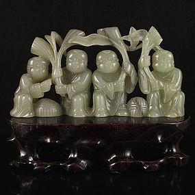 Chinese Natural Hetian Jade Carving; Four Fortune Boys.