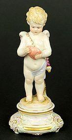 Meissen Porcelain Figure Of Cupid.