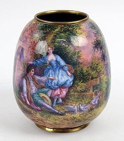 Superb French Enamel Vase.