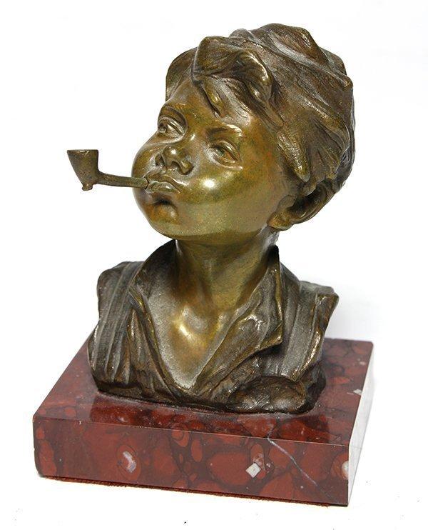 Superb 19th C. European Bronze Bust; Boy & Pipe.