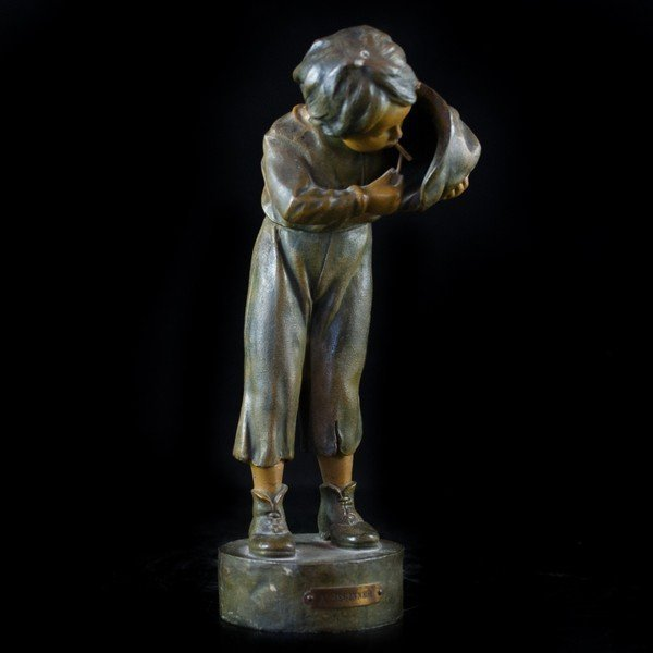 """Antique Bronze/Spelter """"A Beginner"""" Sculpture."""