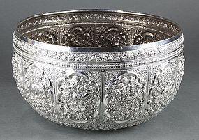 Burmese Repousse Silver Bowl.
