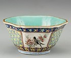 19th C. Chinese Hexagonal Enameled Porcelain Bowl.