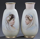 Pair of Josef Ahne Painted Bohemian Vases.