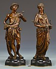 Impressive Pair of Bronze Classical Figural Sculptures.