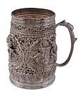 19th C. Burmese Repousse Silver Mug