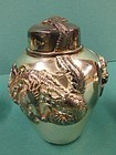 19th C. Chinese Silver Dragon Ginger Jar.