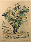 Marc Chagall signed colored lithograph, The Mimosas