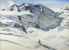 Churchill Ettinger skiing painting, Italian Swiss Alps
