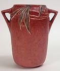 Roseville Velmoss II rose vase, Deco art pottery