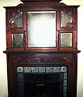 Victorian fireplace mantel mantelpiece, oak, antique