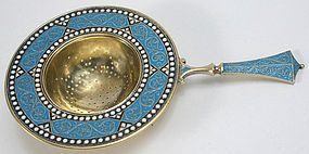David Andersen sterling silver and enamel tea strainer
