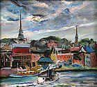 Marion Huse painting - Tugboat in Harbor