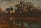 John J. Enneking painting - Autumn wooded landscape