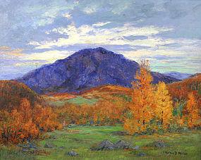 Arthur B. Wilder landscape painting, Mountain in autumn