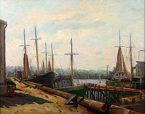 Abraham Rosenthal painting of Rockport Harbor