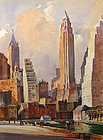 Ted Kautzky watercolor painting - New York skyscrapers