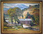 Frank A. Stockwell painting of Vermont covered bridge