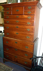 New England Chippendale chest-on-chest, cherry