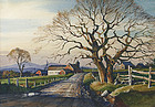 Ted Kautzky watercolor painting of Gnarled Oak and barn