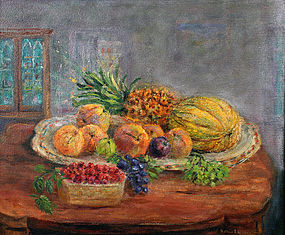 Arthur B. Wilder painting - still life of fruit, VT