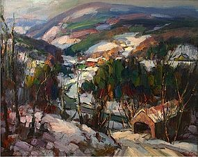 Thomas R. Curtin painting - Covered Bridge, Vermont