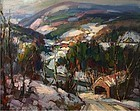 Thomas R. Curtin painting - Covered Bridge, Vermont