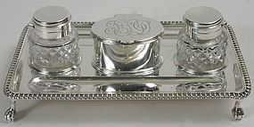 English Victorian sterling silver inkstand - Barnard