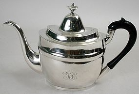 New York early American coin silver teapot - Joel Sayre