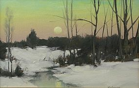 Dennis Sheehan painting - Winter sunset in a marsh