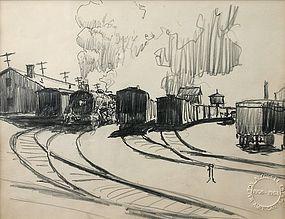 Walton Blodgett pencil drawing of Train station