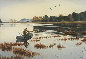 Churchill Ettinger watercolor painting - Duck hunting
