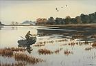 Churchill Ettinger watercolor painting - Duck hunting