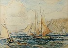 Reynolds Beal crayon drawing of Sailing Yachts